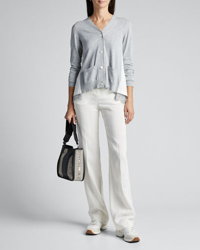 Tonal-Lace Trim Cotton Knit Cardigan