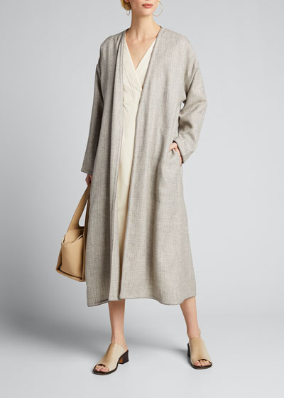 Alpaca-Wool Open-Front Coat