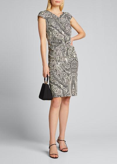 Vosci Paisley-Print Cap-Sleeve Dress