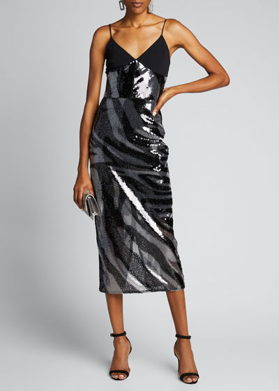 Zebra-Print Sequined Cami Dress