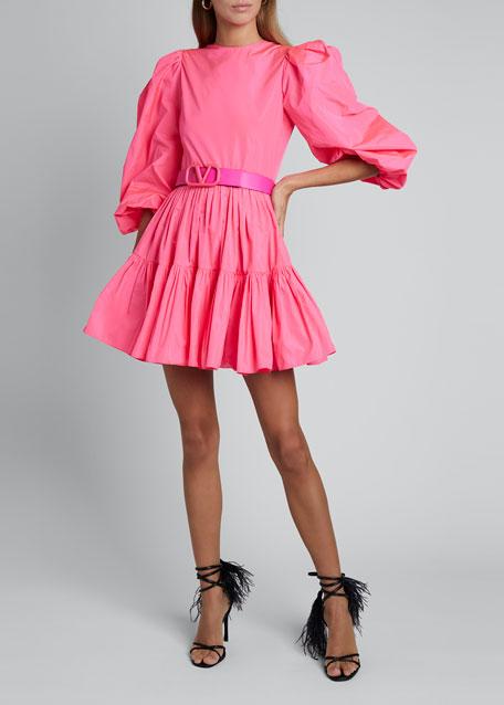 Tiered Skirt Taffeta Dress