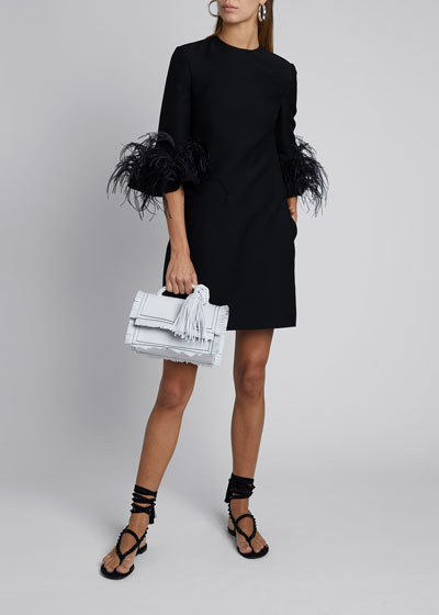 Feather-Cuff Shift Dress