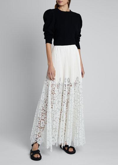 Leather Lace-Hem Maxi Skirt