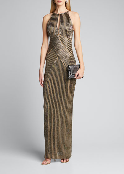 Embellished Crossover Column Gown