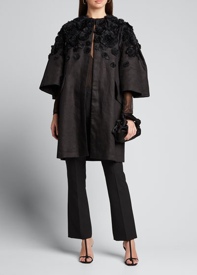 Wide Pleat-Sleeve Embroidered Coat