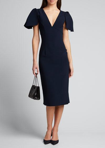 Ruffle-Sleeve V-Neck Sheath Dress