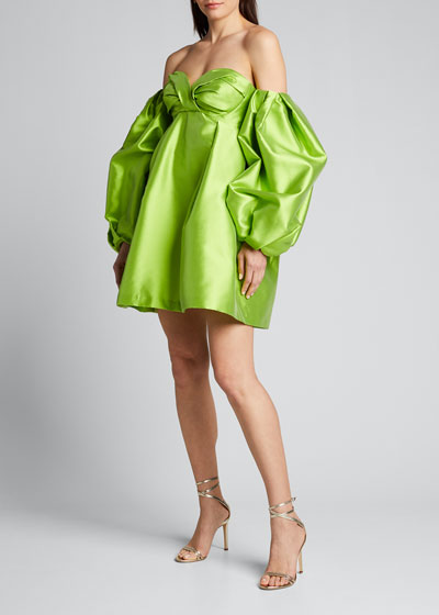 Mikado Off-the-Shoulder Balloon-Sleeve Dress
