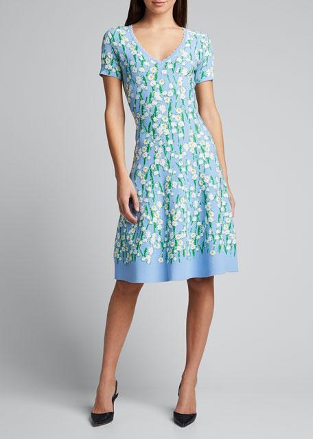 V-Neck Flare Jacquard Dress