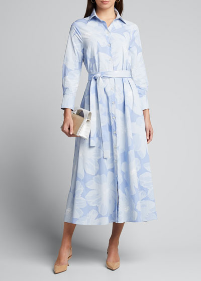 Floral Print Tie-Waist Shirtdress