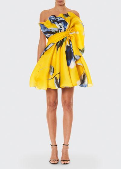 Floral Print Silk Ruffled Mini Dress