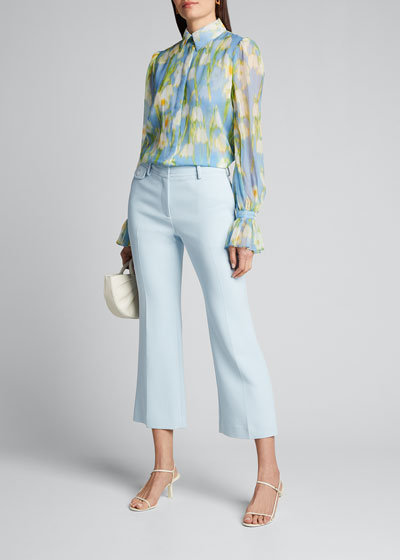 Floral Print Chiffon Puff-Sleeve Shirt