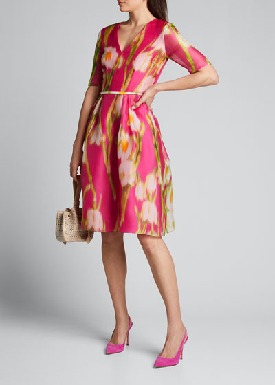 Floral-Print Chiffon 1/2-Sleeve Dress