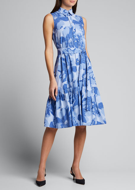 Sleeveless Shirt Dress W Ruffle
