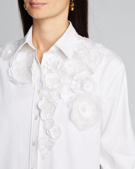 Floral Applique Drop-Shoulder Shirt