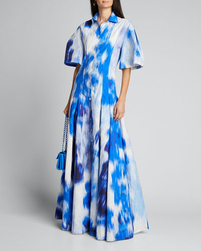 Tie-Dye Cotton-Silk Pleated Shirt Gown