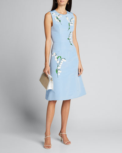 Floral-Embroidered Silk A-Line Dress
