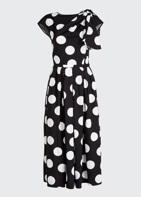 Flutter-Shoulder Polka-Dot A-Line Dress