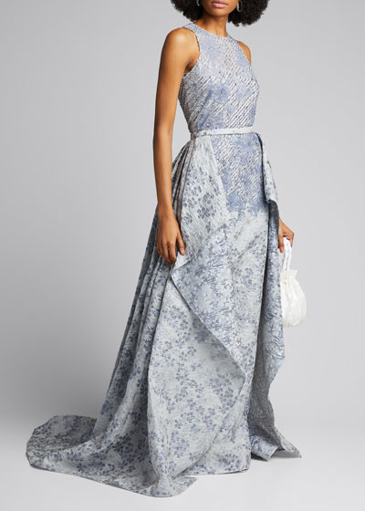 Cloque Beaded High-Neck Gown