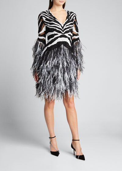 Sequin Zebra Cocktail w/Ostrich Feathers
