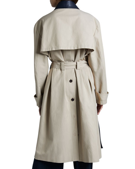 Leather Panel Long-Sleeve Collar Trench Coat