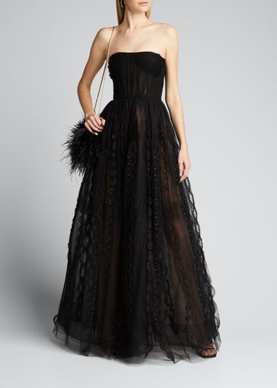 Beaded-Tulle Strapless Gown w/ Bolero Jacket