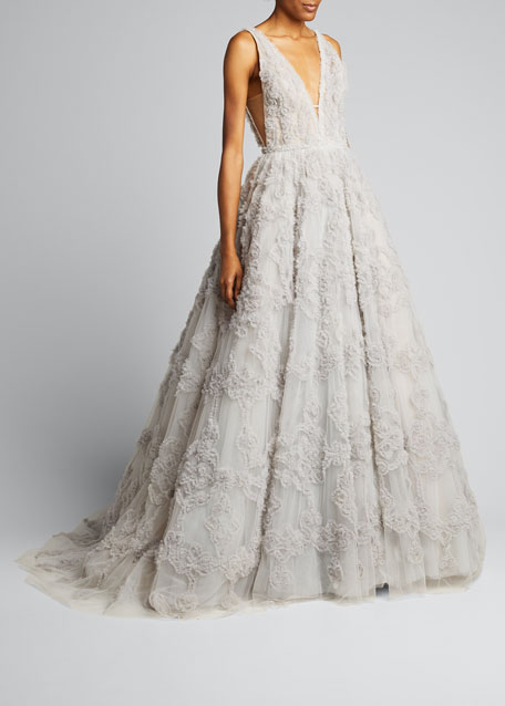 Image 1 of 1: V-neck Tulle Gown with Ruffled Pattern & Embroidery