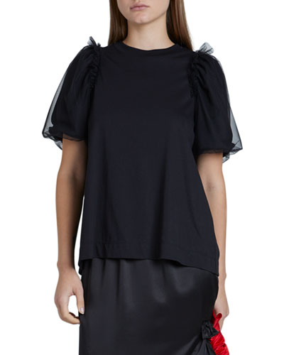 Tulle-Sleeve Jersey Crewneck Top