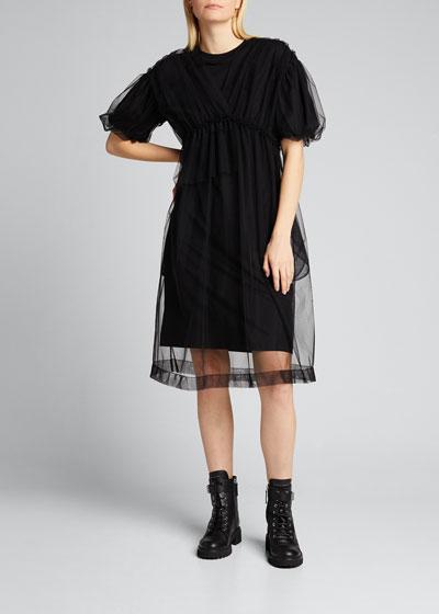 Jersey Puff-Sleeve Shirtdress