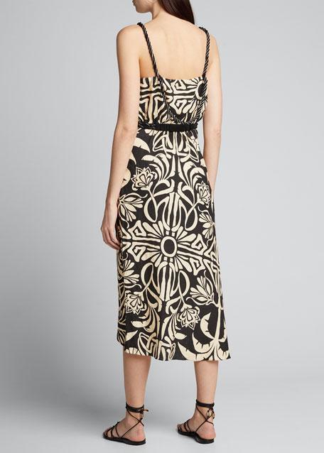 Palm Print Linen Spaghetti-Strap Square-Neck Dress
