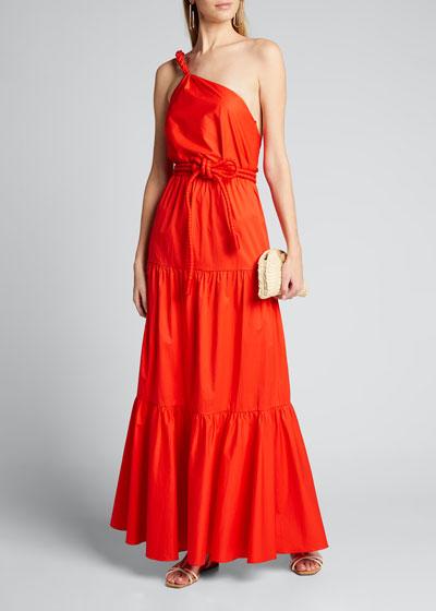 Poplin One-Shoulder Gown