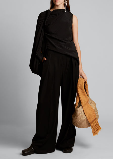 Jersey One-Sleeve Draped Top