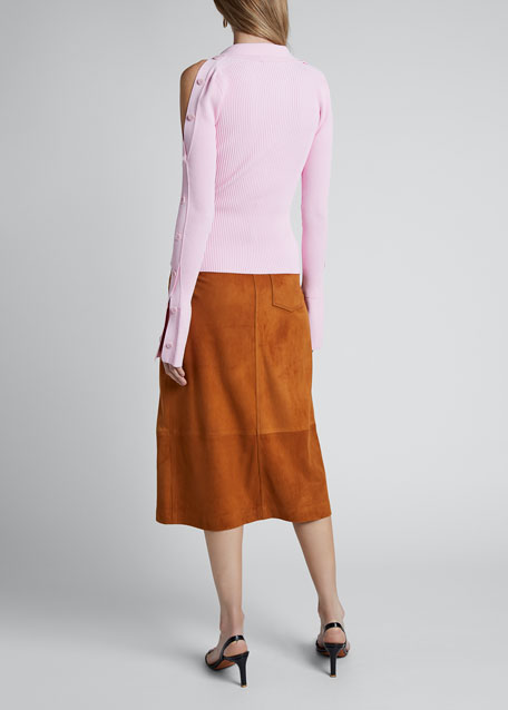 Long-Sleeve Collared Button Detail Sweater