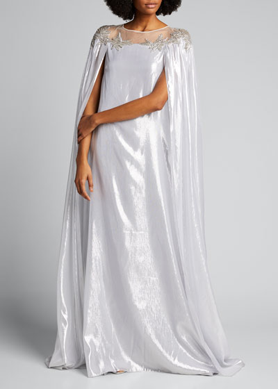 Metallic Chiffon Caftan With Embroidered Neckline