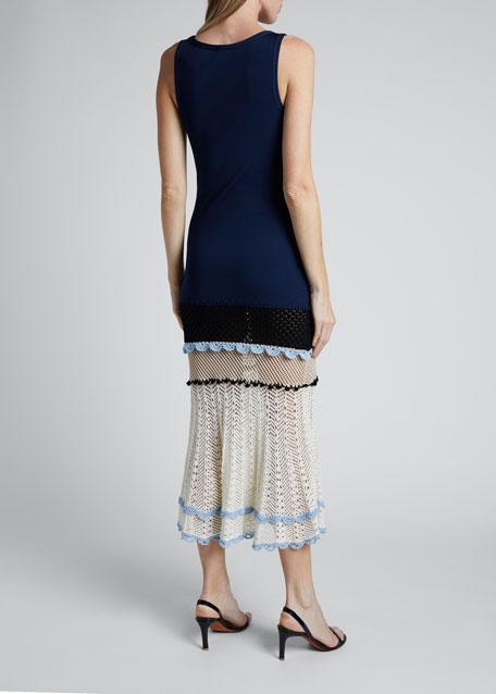 Knit Turtleneck Scoop-Neck Crochet Bottom