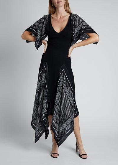 Viscose Knit Handkerchief Short-Sleeve V-neck Asymmetrical Dress