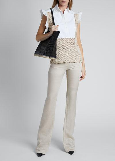 Cotton Crochet Short-Sleeve Collar Top