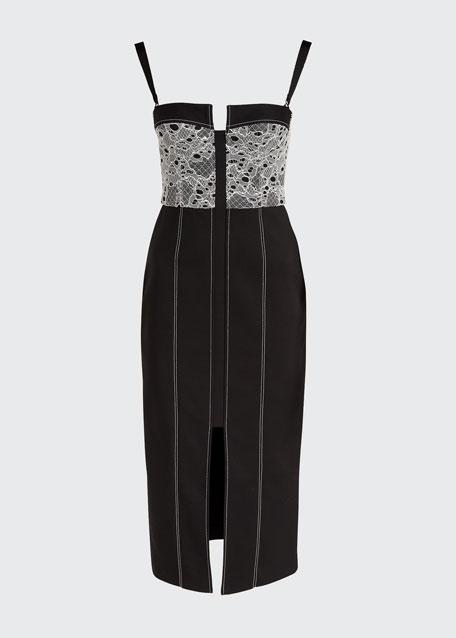 Lace-Trim Denim Bustier Dress