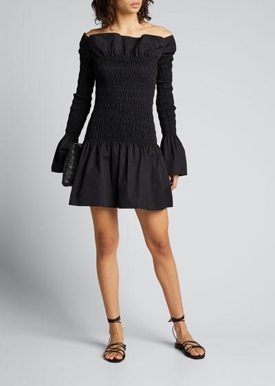 Off-the-Shoulder Smocked Poplin Mini Dress