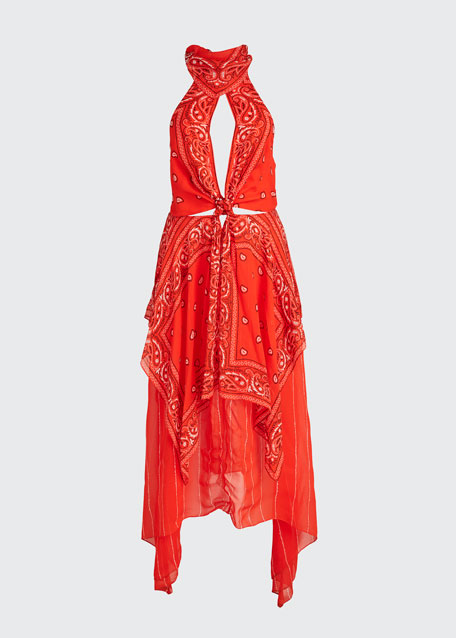 Bandana-Print Halter Dress