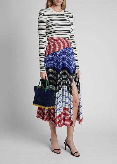 Striped Long-Sleeve Crewneck Pleat Bottom Dress