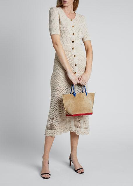 Crochet Short-Sleeve Crewneck Button Front Dress