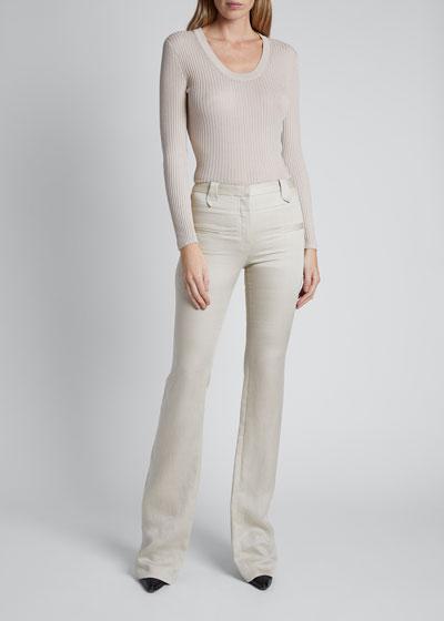Linen High-Rise Flare Leg Pants
