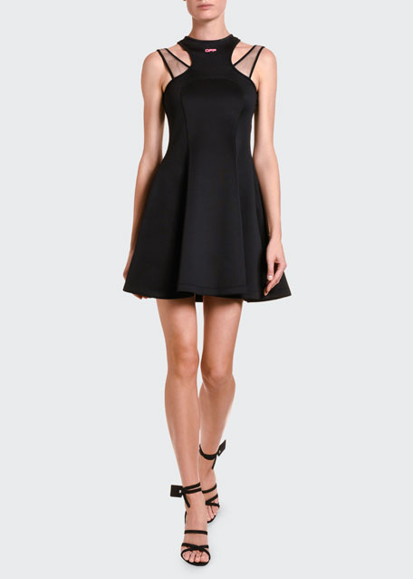Image 1 of 1: Jersey Double-Strapped Fit & Flare Dress
