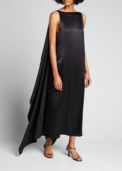 Judy Satin Draped Sleeveless Dress