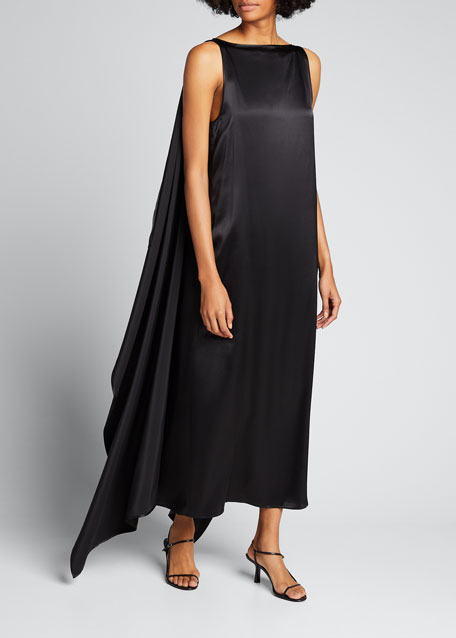 Image 1 of 1: Judy Satin Draped Sleeveless Dress