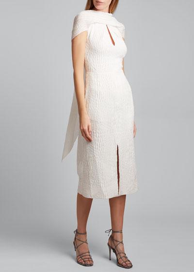 Belem Dress Silk Jacquard High Neck Dress