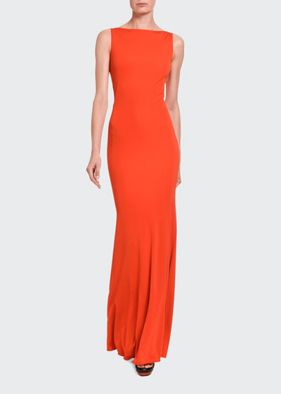 Silk Jersey Boat-Neck Gown