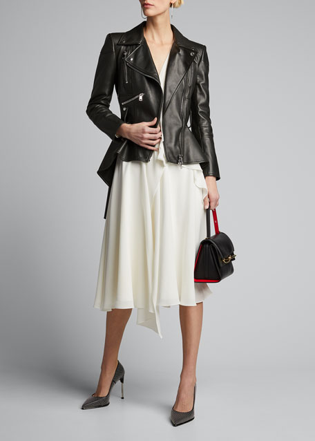 Image 1 of 1: Leather Peplum Jacket