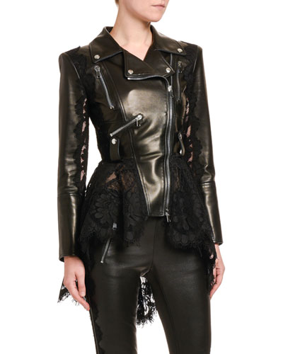 High-Low Lace Peplum Leather Moto Jacket