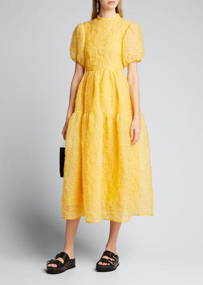 Puff-Sleeve Bowed Dress